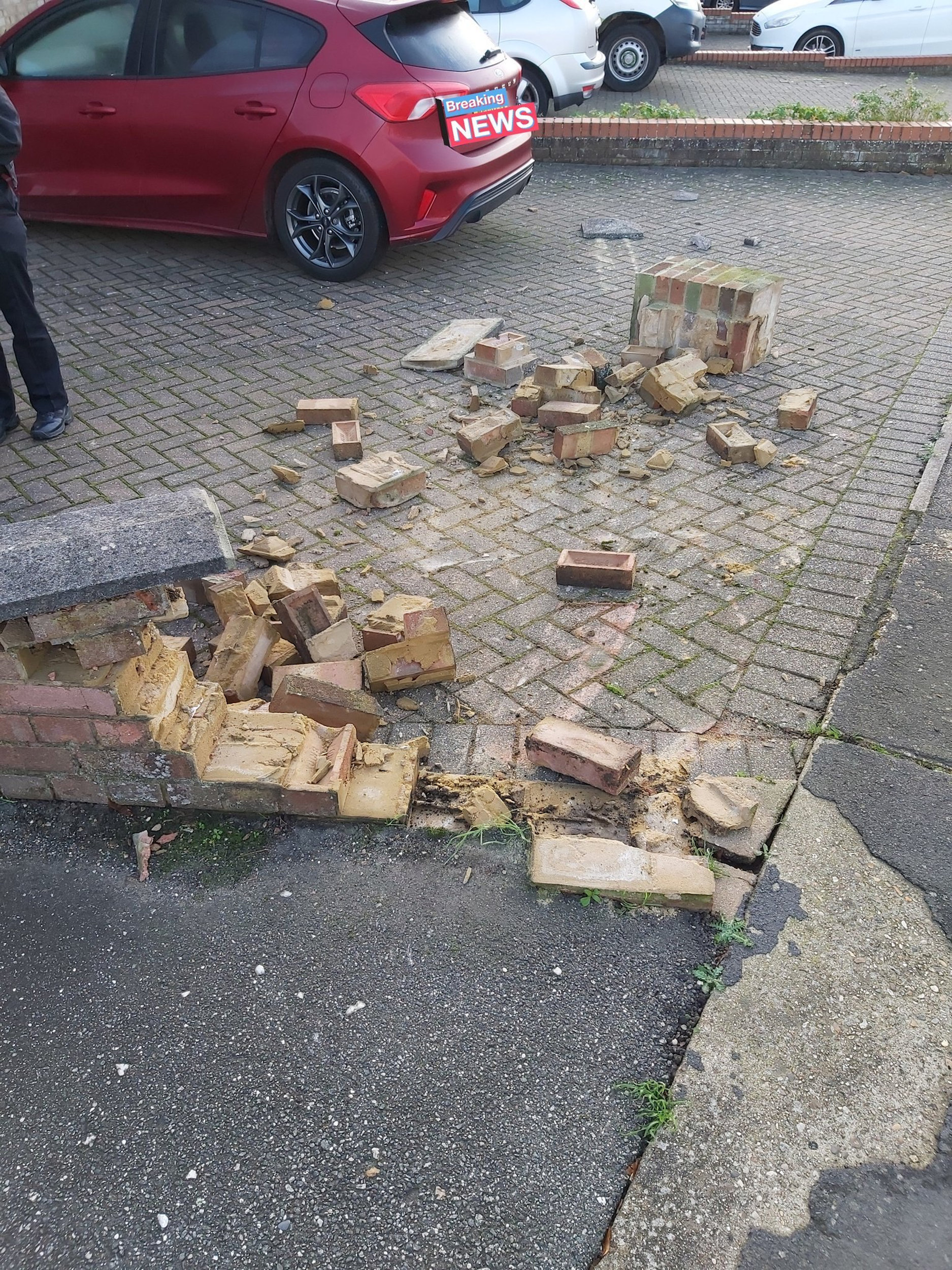 Brick wall destroyed