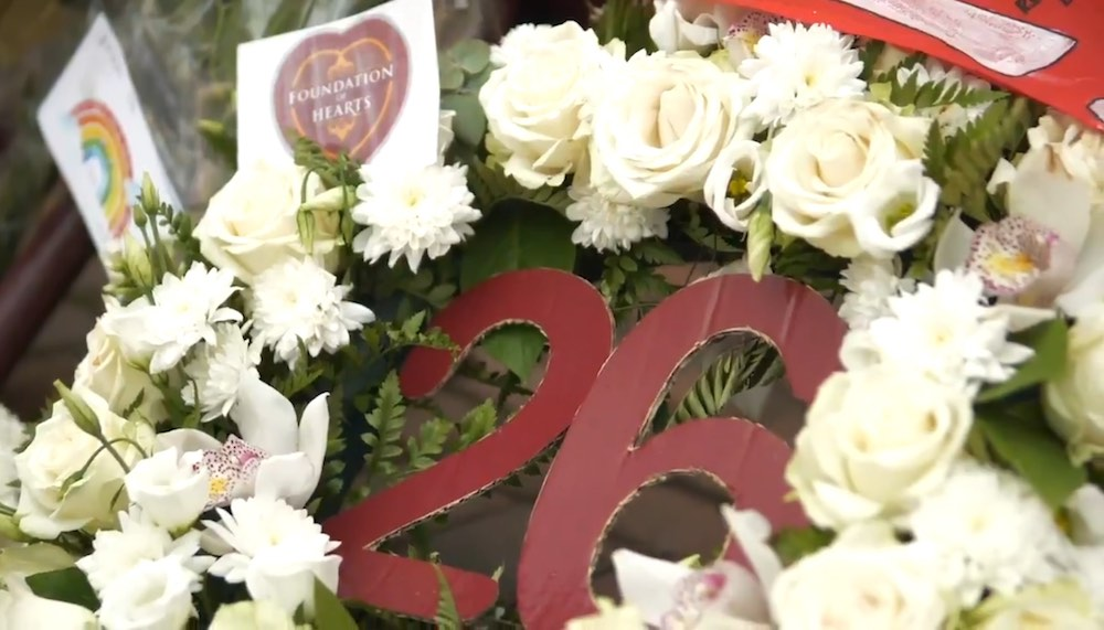 A wreath placed outside Tynecastle following Marius Zaliukas' passing | Hearts news