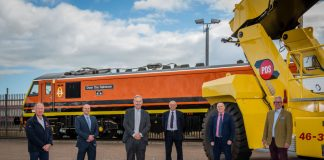 Andy Hall, Head of Corporate Banking, Central Scotland at Barclays; Andy Logan, Managing Partner, Robb Ferguson; Billy Allison, Managing Director (Scotland), Briggs Equipment Ltd; David Stirling and Andrew Stirling, Directors of Mossend International Railfreight Park operator, Peter D Stirling Ltd