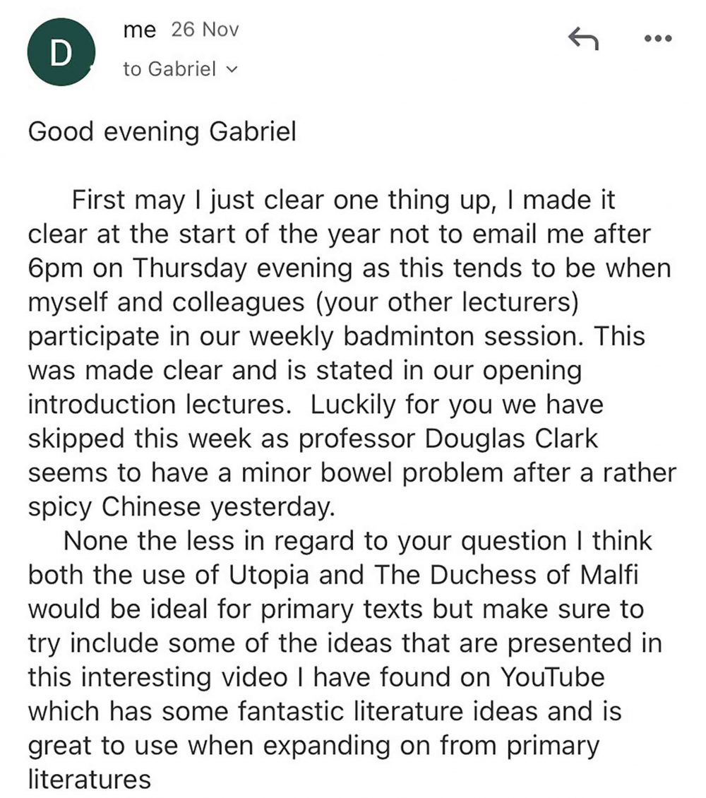 The email penned by Darragh Green - Viral News
