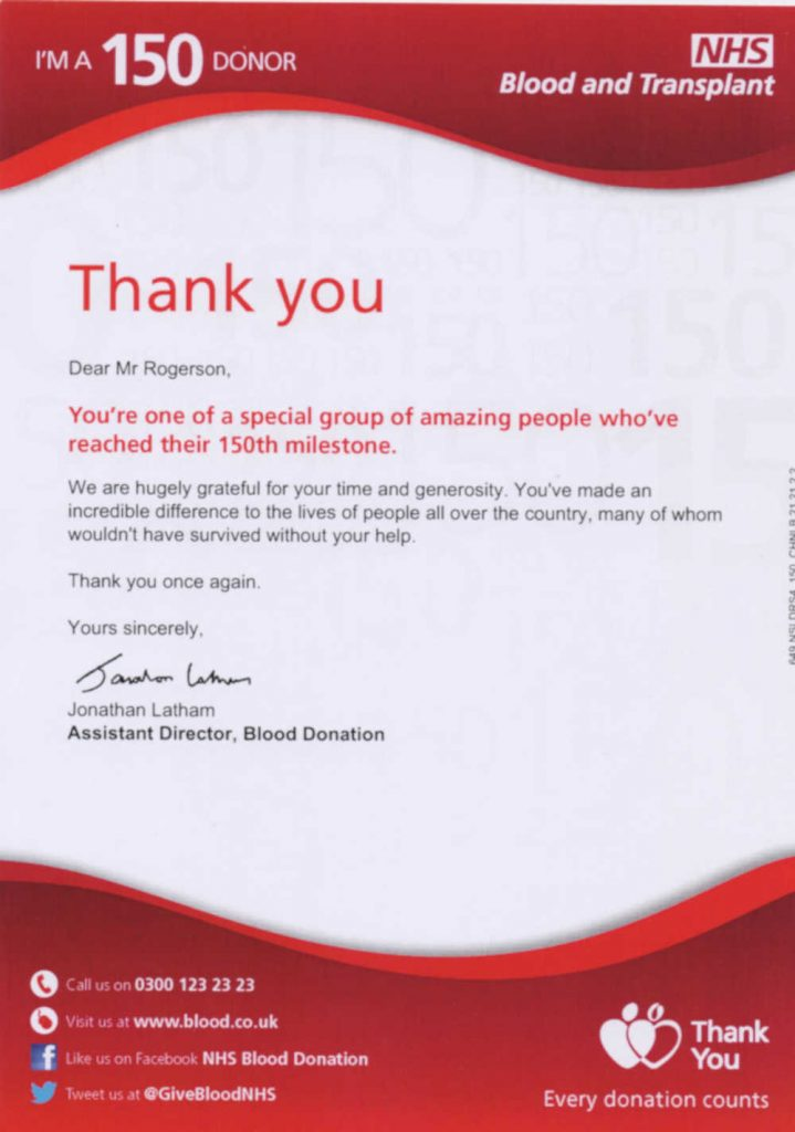 The certificate he received for donating 150 times