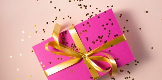 gift tied with ribbon