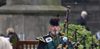 A man playing bagpipes