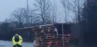 Shocking video shows dangerously overpacked truck take out pedes