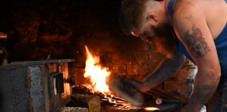 Image by Eilidh Munro of Blacksmith at work at Cousland Smiddy. Scottish Business News