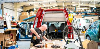 Carpenter working on VW campervan conversion. Scottish Business News