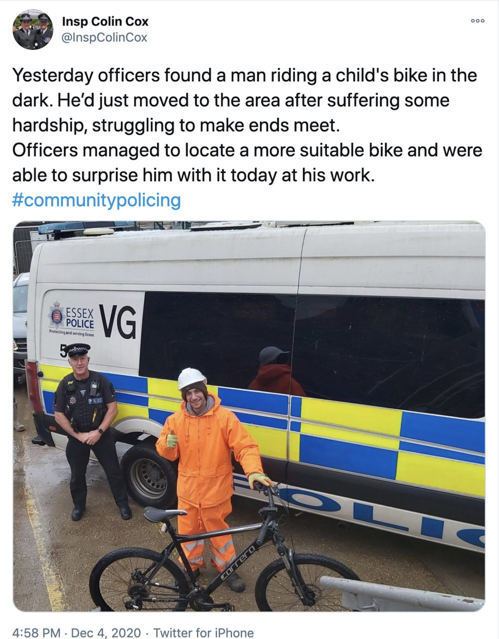 Inspector Colin Cox's Facebook post - Viral News UK