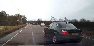BMW driver narrowly avoids collision with three cars after dodgy overtake - Dashcam Clips