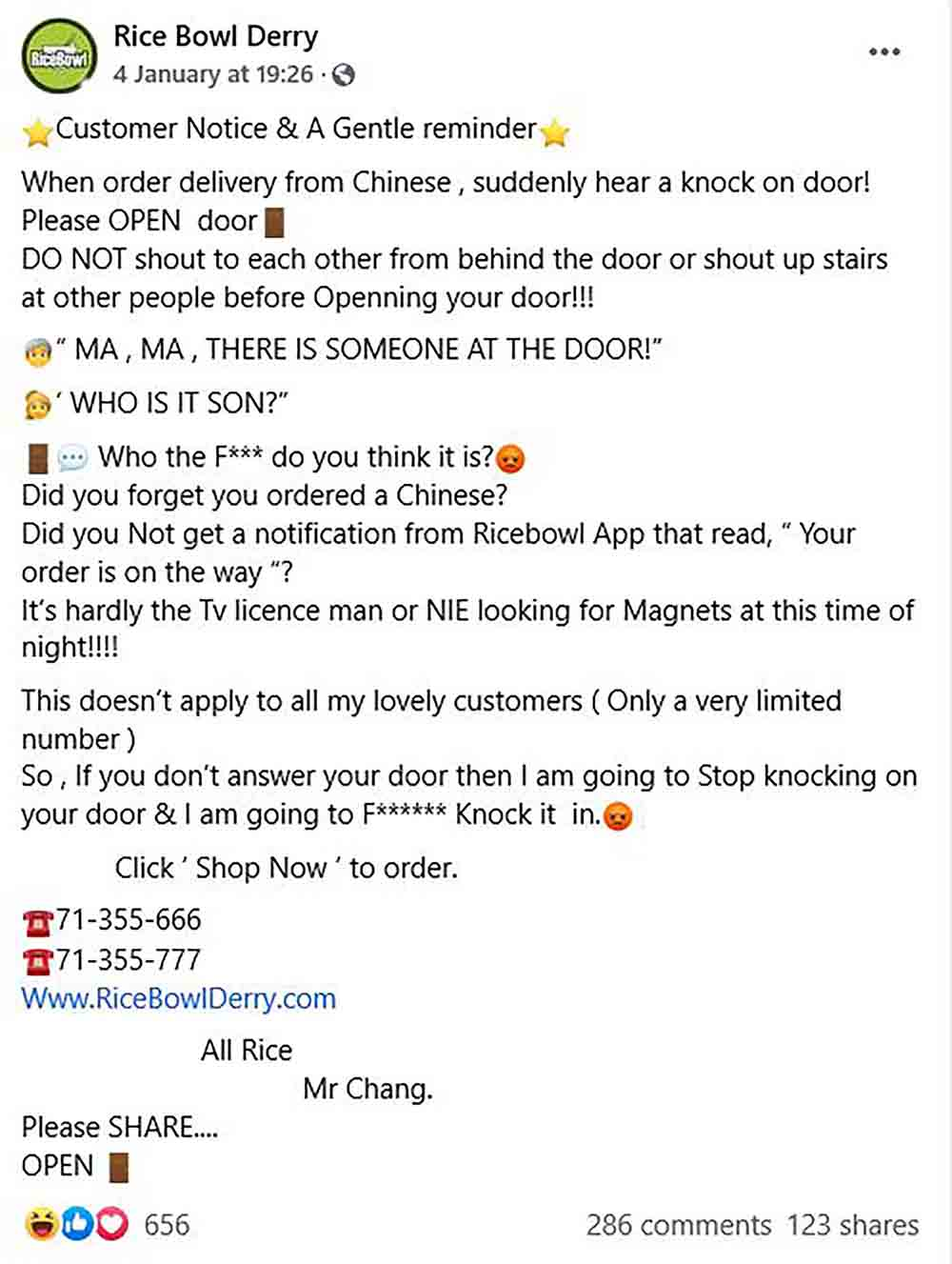 Facebook post made by Chinese takeaway goes viral after posting reminder about answering the door - Viral News UK