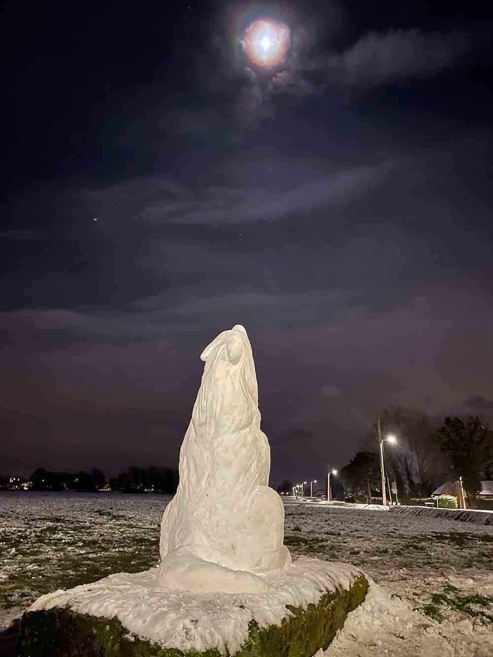 Amazing snow sculpture shows wolf howling at the moon - Viral News