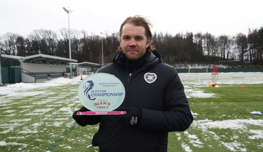 Hearts boss Robbie Neilson with manager of month award   Hearts news