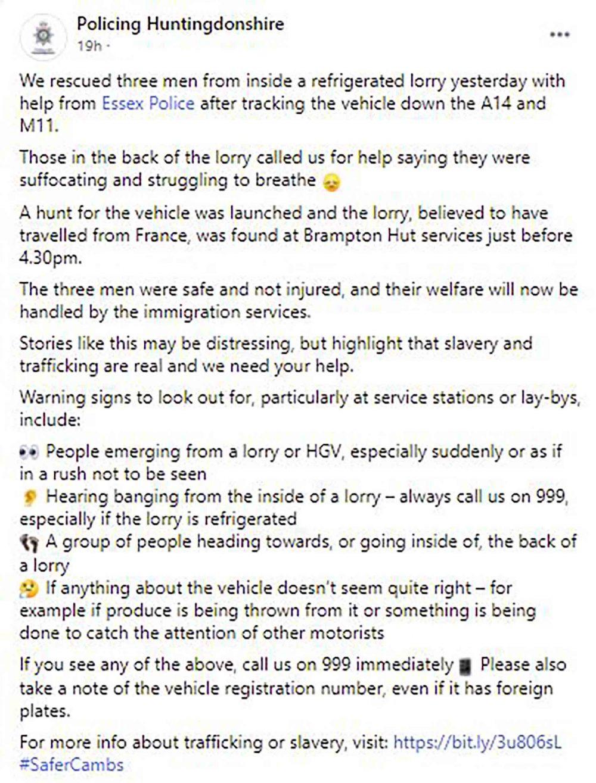 Huntingdonshire Police Facebook post - Crime News UK
