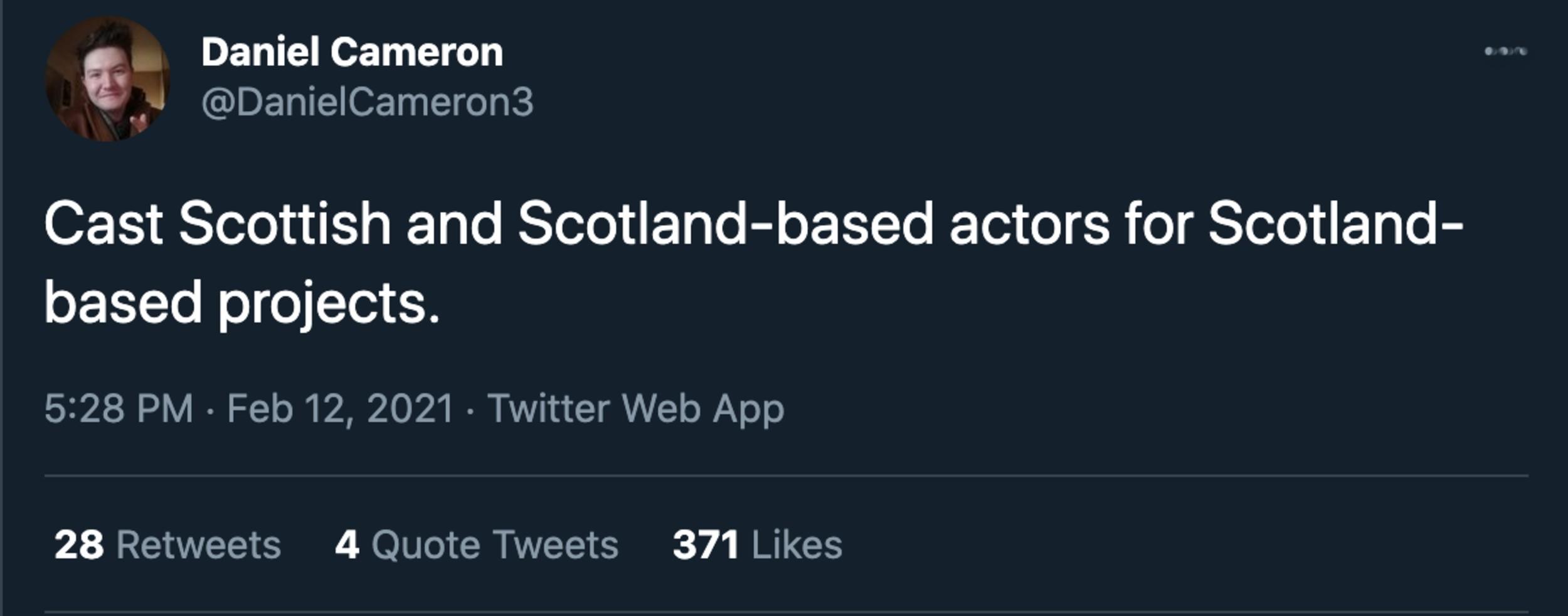 Daniel Cameron tweet - Entertainment News Scotland