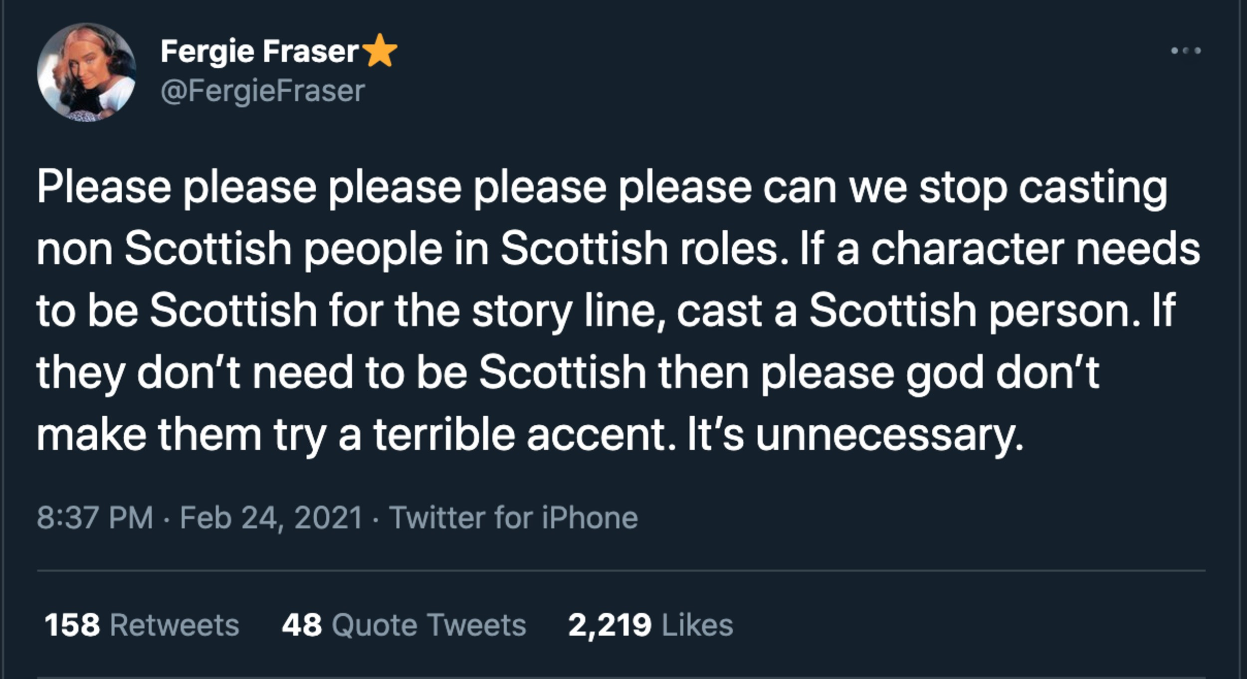 Fergie Fraser tweet on Scottish actors - Entertainment News Scotland