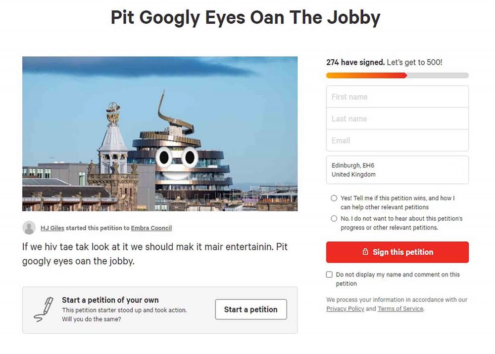 Pit googly eyes oan the jobby