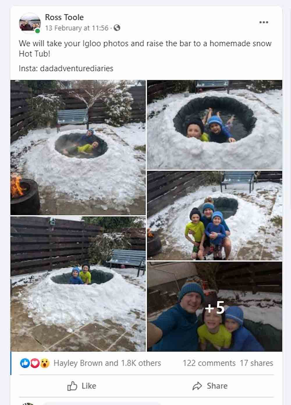 Scotts Dad builds jacuzzi out of snow - Scottish news