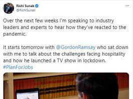 RIshi Sunak's announcement on Twitter - Business News UK