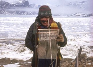 Archie Brennan weaving in Nunavut 1991. Image courtesy of Archie Brennan Estate