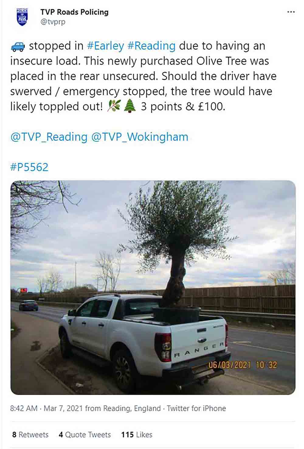 Cops pull over truck driver who has large olive tree onboard - Police News UK