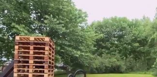 Cyclicst Danny MacAskill jumps over huge stack of wooden pallets - Scottish News