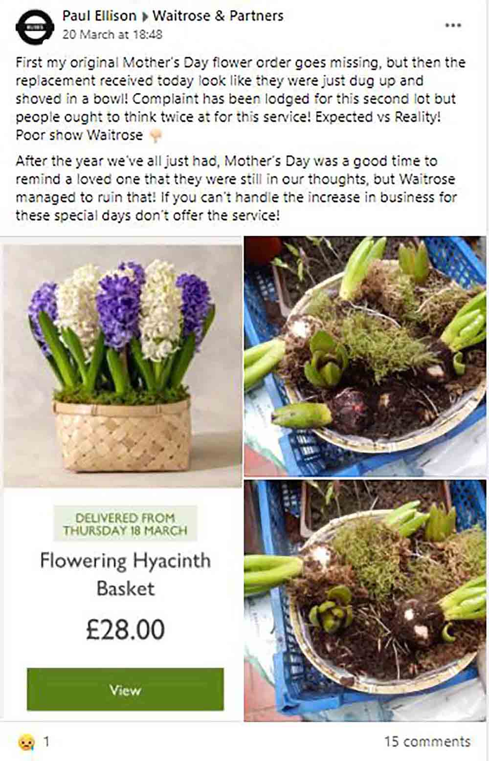Customer rages at Waitrose for terrible Mothers Day flowers - Consumer News UK