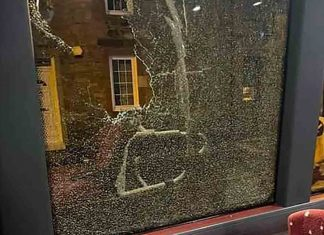 Bus driver shares image of boulder thrown through window - Scottish News