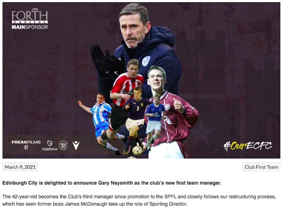 Gary Naysmith becomes Edinburgh City boss | Hearts news