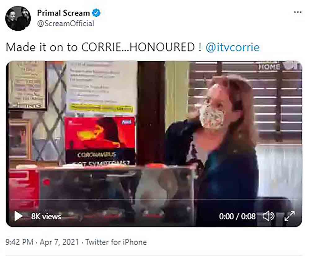 Primal Scream frontman honoured to be mentioned in episode of soap drama Coronation Street - Scottish News