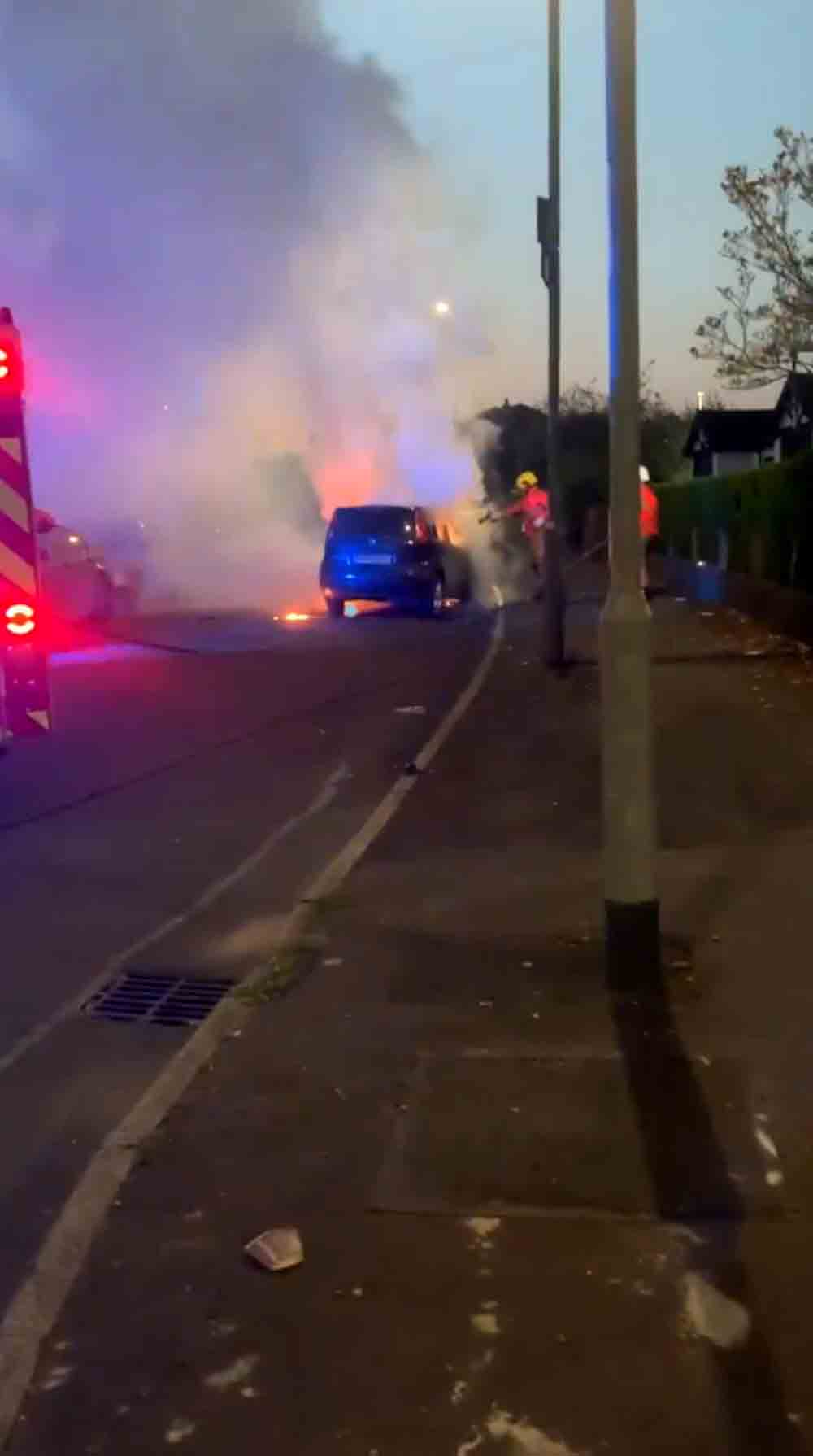 Dramatic footage shows car completely engulfed in flames - Video News