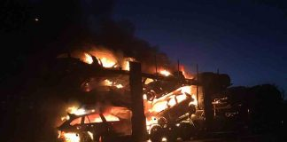 Fire and Rescue team share images of transporter ablaze - UK News