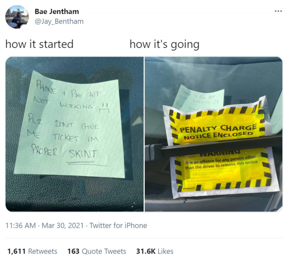 Hilarious parking fine | Viral News UK