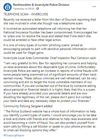 A facebook police post - Scottish News