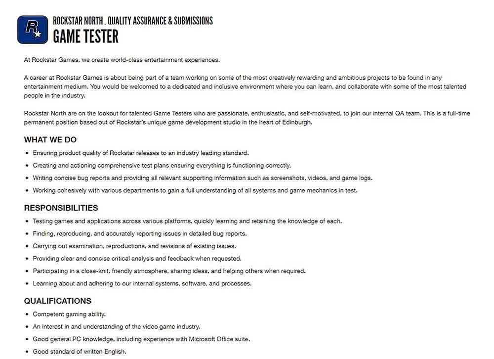 Rockstar North annonce un emploi pour un testeur de jeux - Scottish News