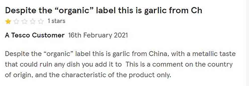 Tesco slammed for using chinese garlic - Consumer News