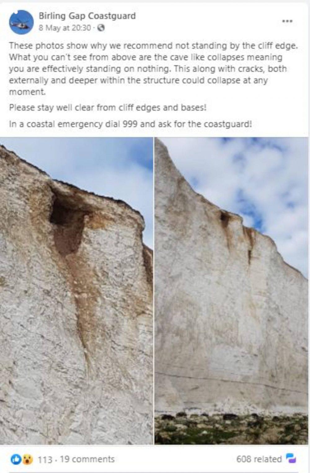 Birling Gap Coast Guard Facebook Post | UK News