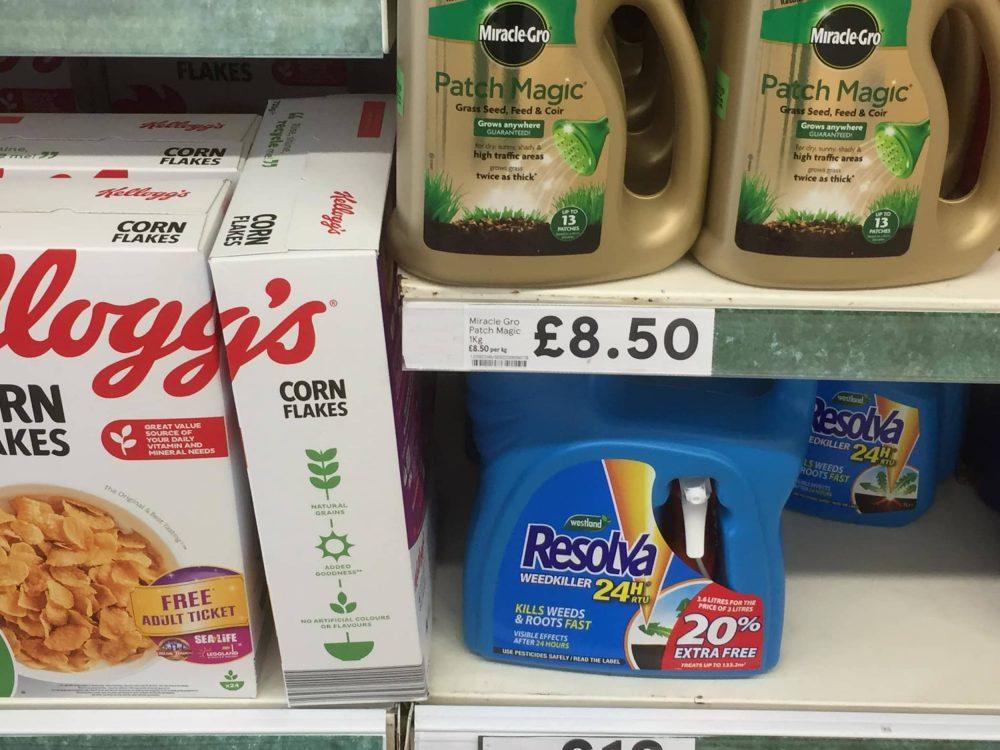 Kellogg's cornflakes pictured next to Reslva weedkiller - Consumer News Scotland