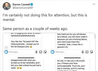 Scots comedian Darren Connell shares distressing images of abuse he received from online troll - Scottish News