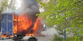 A Dreams lorry was engulfed in flames on the dual carrigeway in the West Midlands - Traffic News UK