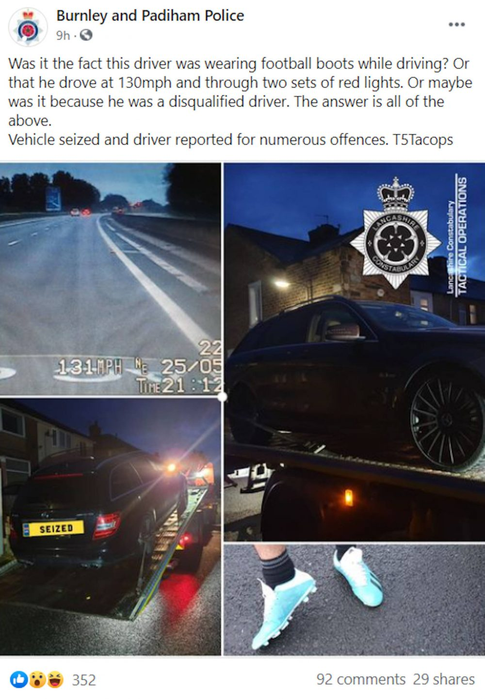 Burnley and Padiham Police Facebook Post   Traffic News UK
