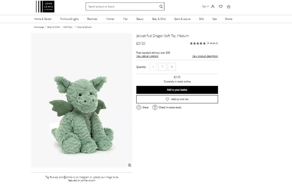 """John Lewis recently launched """"Fud"""" the dragon - Scottish News"""
