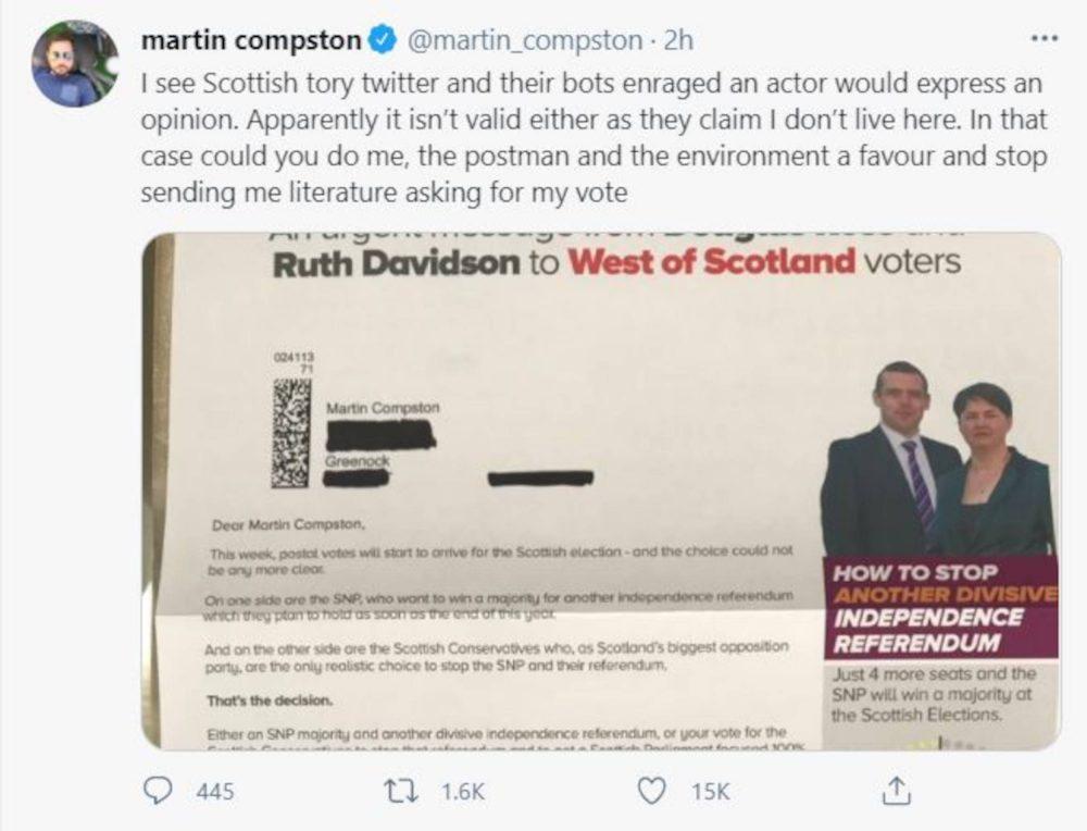 Martin Compston tweet| Scottish News