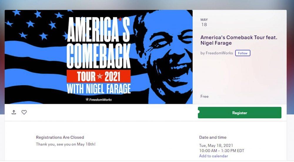 Nigel Farage US Show ticket | UK and World News