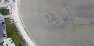 Proposal message written in sand from the sky | Scottish News