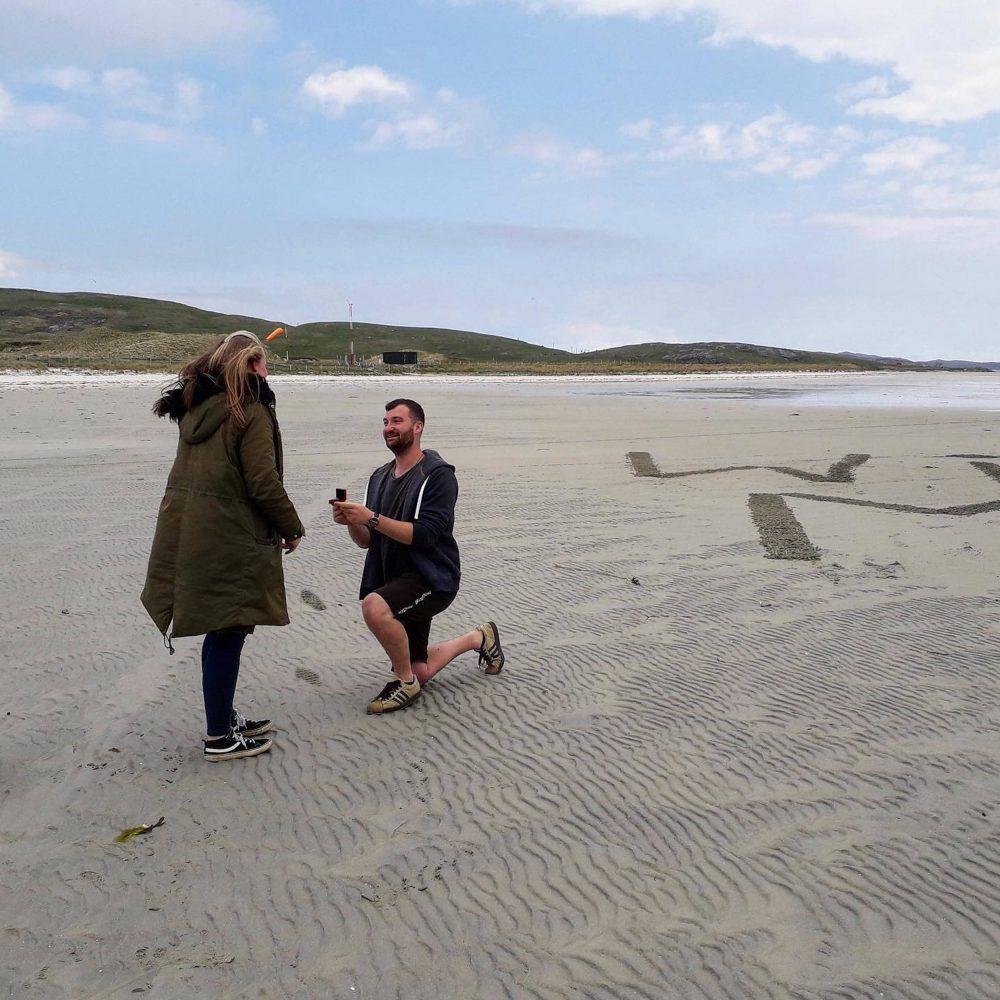 Jamie Forde Proposing on Barra beach   Scottish News
