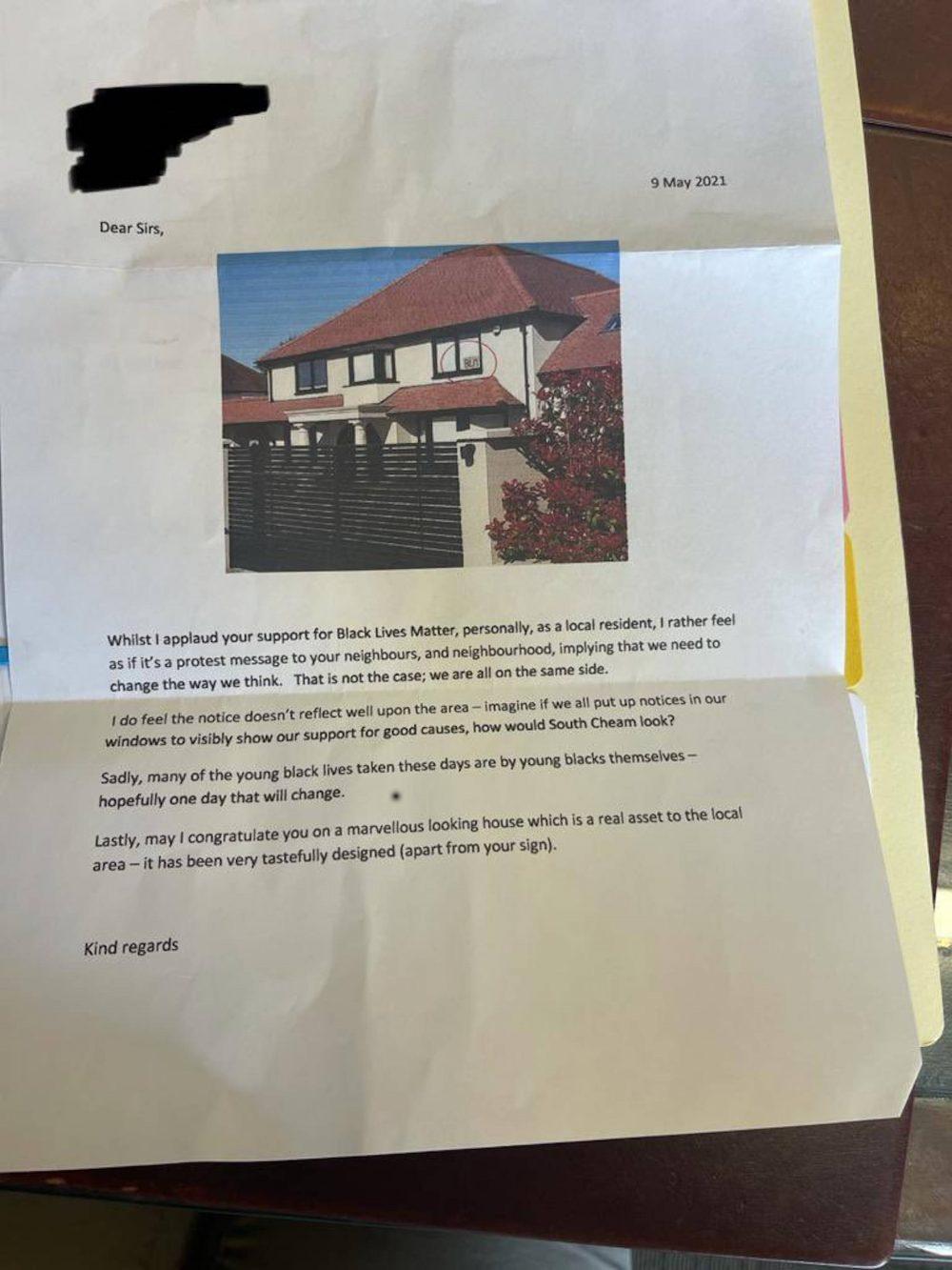 Letter objecting to Black Lives Matter poster | Community News UK