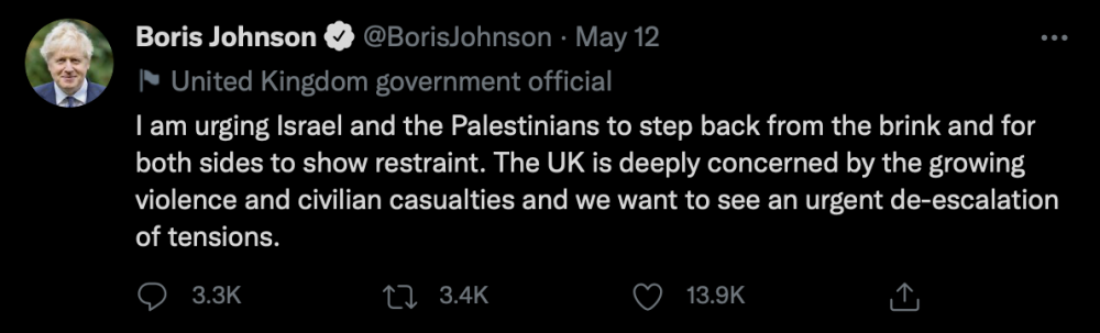Boris Johnson's tweet yesterday addressing the conflict - UK and World News