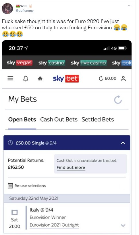 Welsh lad accidently puts bet on Italy to win eurovision instead of the euros 2020 - Viral News UK