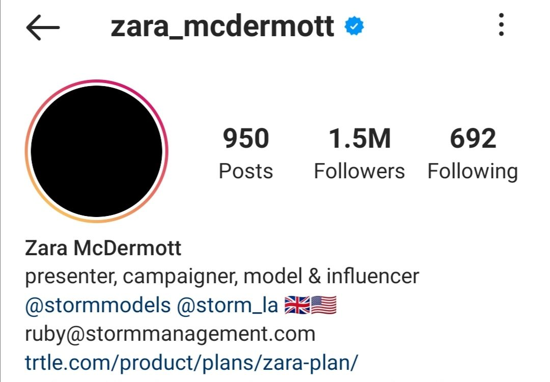 Zara McDermott Instagram - Business News