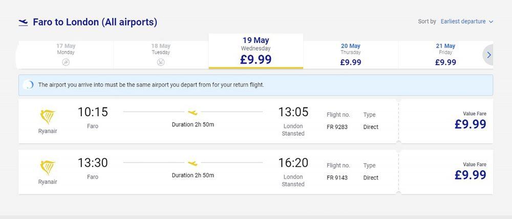 Ten Pound RyanAir Flights
