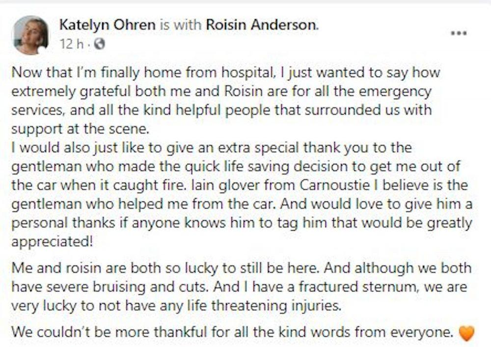 Katelyn Ohren FB post - Travel News Scotland